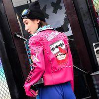 Marca de moda Leopard Print Rivet Chaqueta de cuero Mujer Biker Coat 2019 Nueva colección primavera diversión graffiti Faux chaqueta de cuero1