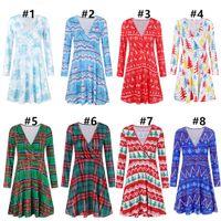 V yaka uzun kollu elbise Noel şerit baskı Kadınlar Noel Moda Bluz Sonbahar Kış tasarım butik Giyim Yeni CZ1105D elbiseler ekose