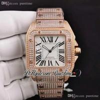 2021 Drf utwardzony symulowane diamenty Case Rose Gold White Dial Roman Diamonds Bransoletka ETA A2824 Automatyczne męskie Zegarek Bling Biżuteria Puretime E5