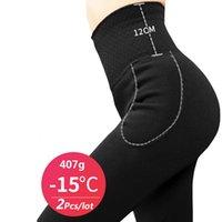 ZJX / LOT TERMICO intimo invernale pantaloni caldi vita alta dimagrante super spessa outwear in velluto da donna elastiche leggings LJ201008