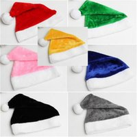 7 Дизайн Рождественские плюшевые Санта-Клауса Cap Взрослые POM шапочки шапка сплошной флис короткие меховые шапки велюровые рождественские вечеринки костюм головные уборные подарки LY10291