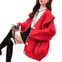 2021 Новая Весна Мода Женщины вязаный свитер Harajuku Свободно Теплый кардиган Женский колледж Повседневная длинная рукава пальто оборками Tops A87