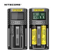 100% Nitecore UM2 Carregador de Bateria Cirurgia Inteligente Seguro Global Li-ion 18650 18700 20700 21700 LCD Display Carregador de Bateria UM4