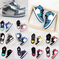 Nike air jordan 1 Kid Basketball Shoes Running shoes Chicago Bred Sneakers Melody Mid Multi-Cor Tie-Dye Kids Shoes 26-35