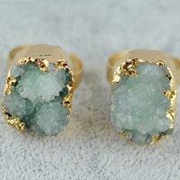 Doğal Druzy Kuvars Kadınlar Taş Kristal Yeşil Gül Ham Taş Dişi Vintage Alyans