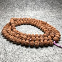 Soucoupe volant naturel 8-pétale indonésien Rudraksha de la viande complète 16mm couleur originale non nettoyée Bodhi graines 108 Bracelet Droptship1