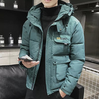 2020 Winter Parka hommes coupe-vent plus Velvet Épaissir chaud coupe-vent Manteau Casual Male Vestes capuche militaire Zipper Couleur unie