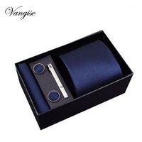 Связь на французском мужском галстуке Черный синий Paisley Polyester Классический галстук Hanky Cufflinksclips набор для мужчин Формальная свадьба Groom Groom Hot Sell1