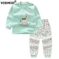 Conjuntos de roupas Vidmid meninas de bebê outono de manga comprida roupas moda algodão crianças para crianças 40511