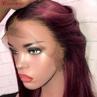 Dantel Peruk 1B 99J Bob Peruk Ön İnsan Saç Siyah Kadınlar Için Brezilyalı Remy 8-16 inç Kırmızı Ombre Renkli Kısa