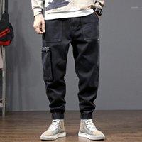 Jeans pour hommes Fashion Streetwear Hommes Fit Fit Noir Big Poche Denim Cargo Pantalons Japonais Vintage Hip Hop Joggers1