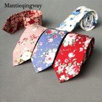 Neckties Mantieqingway 6 cm Business Bräutigam Hochzeit Blumen Baumwolle Männer drucken Skinny Gravatas Slim Anzüge Krawatte Krawatte für
