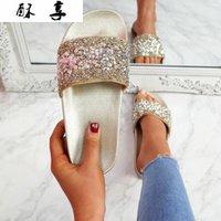 2021 صيف جديد رقيقة أسفل المرأة عارضة الأحذية الأزياء حجر الراين مطرزة المرأة الصنادل المصارع الصنادل النساء # 8T9V