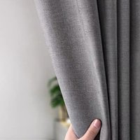 Thicken Grey Imitation Linen Polyester Shower Curtain Waterproof Bath Curtains for Bathroom with Hooks Japanese Fabric 201127
