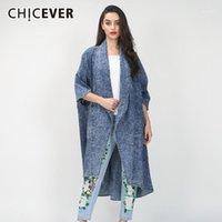 Женщины женские пальто Cicever асимметричные джинсовые женские ветровая ветровка ослабеншей воротник половины рукава кармана женский 2021 осень модная одежда