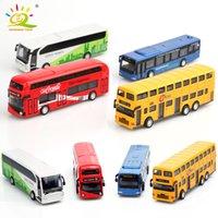 4 UNIDS / SET COLECCIÓN INTERIOR Aleación de autobuses de la aleación Modelo de autobús de juguete Diecasts Vehículos de juguete Escritorio Corteza de la aleación del coche Decoración de bolsillo de juguete
