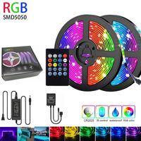 RGB LED Strip Light SMD5050 Diode Ruban flexible 5M 10M Bande LED Set complet avec contrôleur de musique 20 Touches distantes 12V Adaptateur secteur