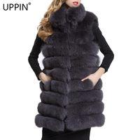 FAUX FEMME FAUX FAUX UPPIN 2021 Femmes de luxe Manteau de style long gilet d'hiver hiver chaleur chaud jaquette Casaco Feminino