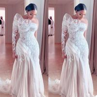 Image réelle Plus Taille Taille Robe de mariée Sirène One Épaule Volants Appliqués Robes de mariée en dentelle appliquée Custom fabriqué magnifique robes de mariée