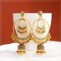 2.020 Oro Boho antiguo círculo redondo grande gitana tribal pendientes de gota Mujeres Bell vendimia de la borla del pendiente de la joyería de las mujeres