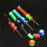 Smoking 14mm Silicone Nettare Collector con GR2 Titanium Nail Concentrate DAB Straw Oil Rigs