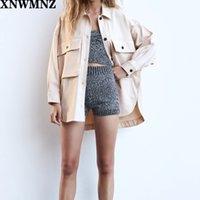 XNWMNZ ZA женщины overshirt с карманами TRF Collared overshirt с длинными рукавами передний боковой карман Асимметричный подол пуговицах спереди 201027
