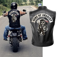 무정부 정품 가죽 자켓 조끼 남성 오토바이 봄 재킷 SOA 펑크 블랙 Motorrad Gilet C1103