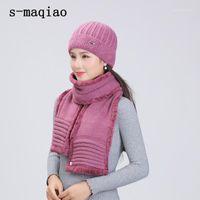 S-Maqiao Зимние шапки для женских меховых шляпных шарф набор теплые шерстяные вязаные плюшевые шарфы матери Cap Cap Capn Bonnet Gifts Flece Shawl1