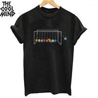 Coolmind 100% algodão Funnny Mulheres Camiseta Verão Knnited O-pescoço Tshirt T-shirt de tecido respirável T-shirt de impressão feminina