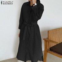 Sonbahar Sundress Zarif Yaka Boyun Ofis Uzun Gömlek Elbise Zanzea Kadınlar Rahat Uzun Kollu Katı Midi Vestido Kuşaklı Robe1