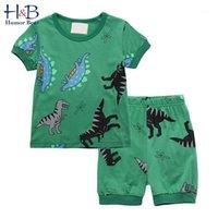 Conjuntos de ropa Humor Bear Boys Summer Fashion Cotton Dibujos animados de manga corta + Pantalones cortos 2pcs Lindo bebé niños niños ropa1