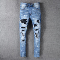 2020 Top High Quality Designer Herren Jeans Motocycle HolesLuxury Denim Männer Mode Streetwear Herren Kleidung Designer Hosen