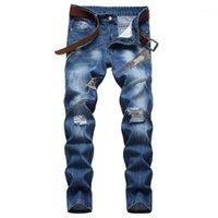 플러스 사이즈 40 42 블루 위장 패치 워크 청바지 2020 새로운 남성 정기적 인 청바지 패션 디자이너 찢어진 streetwear1