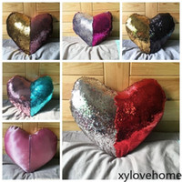 Wholesale heart shaped Sequin Cushion Cover Mermaid Sequin P...