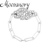 Moonmory 925 Sterling prata rocha punk branco zircão menottes anel de cadeia para mulheres de cristal mão punho anéis de festa jóias fazendo 201026