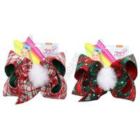 7INCH JOJO سيوة دبوس عيد الميلاد للبنات الطفل منقوشة الكبير الانحناء الشعر كليب BOWKNOT الفراء الكرة دبابيس الشعر المشابك بوبي دبوس headress قبعة D92201