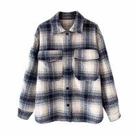 여성 캐주얼 격자 무늬 블루 BSK 코튼 긴 재킷 여성 새로운 봄 패션 단일 브레스트 느슨한 셔츠 아웃웨어 더블 포켓 201127