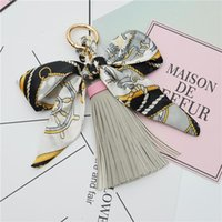 1pcs Bowknot Ribbon Spring Coil Leather Tassel Key Chain Diy...
