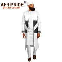 Homens do `s terno casacos longos Dashiki Camisas Ankara Calças Tradicional Chapéu 4 Piece Set Africano Roupas Vestuário desgaste AfriRide A012 201109