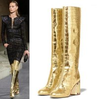US4-11 Wemens Craze osted Toe Crocodile Pattern Golden Bling Rhinstones Knee High Beath Boots Блокировка каблука натуральная кожаная обувь плюс SZ1