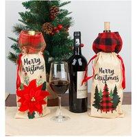 عيد الميلاد الكتان زجاجة النبيذ نسيج مربع تغطية المرقعة الرباط حقائب المشروبات زجاجات القدح كم حامل الرئيسية الطرف الجدول ديكورات E102102