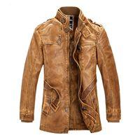 Warm Neue Männer Lange Ledermantel Winterjacke Herren Outwear Art und Weise PU-Lederjacke männlich dicke Fleece-Jacken HALLO-Q