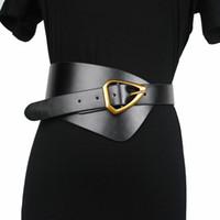 New Mulheres Couro Cintura Largo Cinto De Metal Triângulo Pin Buckle Corset Corset Fashion CummerBunds Macio Big Waistbands Cintos J1209