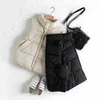 Frauen Winter-Fest Farbe Stehkragen Weste getragen Street Mouwlless unten warme Jacke Weste weiblich Westen