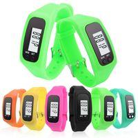 Digital Led Pedomter Smart Multi orologio in silicone Run Step a piedi Distanza Calorie Calorie Orologio elettronico Braccialetto elettronico Pedometri colorati Pedometri