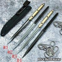 Neueste HN-9 / HavocWorks Handstich Gerade Messer 440c Sharp Blade Aviation Aluminiumgriff Taktisches taktisches Kampfwerkzeug Camping Outdoor-Werkzeug