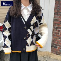 Vangull Argyle da manta de malha Cardigans Mulheres Outono Estilo coreano Casual Patchwork camisola Pescoço V Único Breasted Moda Tops 201017