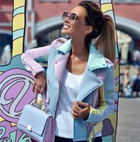 TAOVK Suede Fada Básico Jackets Colorblock Cut lapela Coats zíperes projeto Belted Arrefecer Jacket Motocicleta azul amarelo 201007 roxo