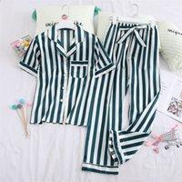 Lisacmvnel primavera nueva manga corta satinado mujeres pijamas raya moda ropa de dormir Y200708