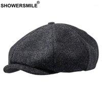 Showersmile brand de journaux de journaux de laine Hommes gris Herringbone plate Casquettes Femmes café Britannique Gatsby Cap automne hiver Hats1